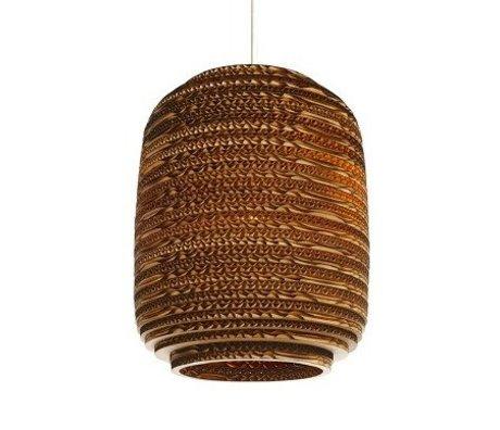 Graypants Lámpara colgante Ausi 8 de cartón, marrón, Ø19x24cm