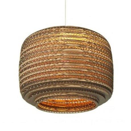 Graypants Hanging lamp Ausi 12 cardboard, brown, Ø28x20cm