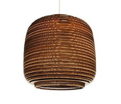 Graypants Hængende lampe Ausi 14 pap, brun, Ø39x36cm