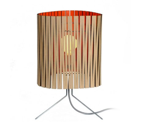 Graypants Lampe de table Leland en carton, orange, Ø26x47cm