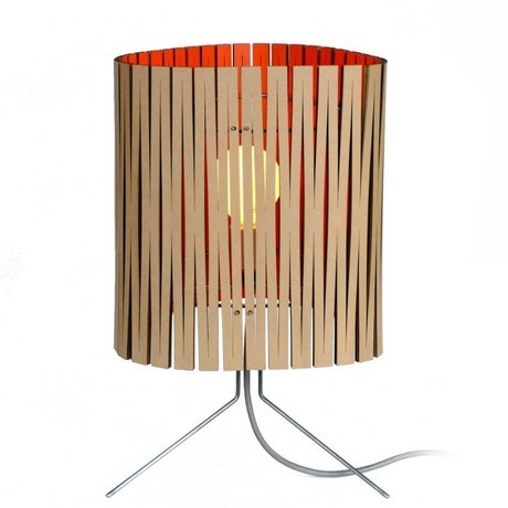 Graypants Leland bordlampe lavet af pap, orange, Ø26x47cm