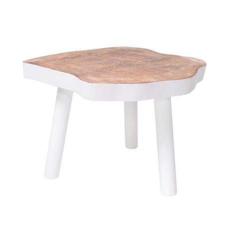 HK-living Table basse L arbre bois, blanc, 65x65x46cm