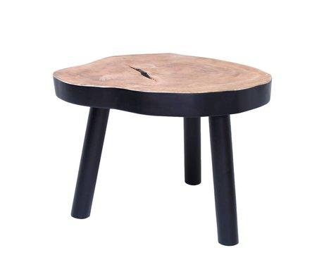 HK-living Coffee Table L tree wood, black, 65x65x46cm