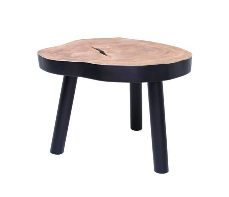 HK-living L bois d'arbre à café de table, noir, 65x65x46cm