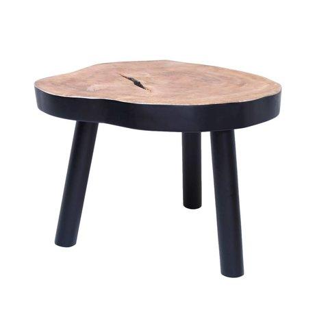 HK-living Couchtisch L Baum aus Holz, schwarz, 65x65x46cm