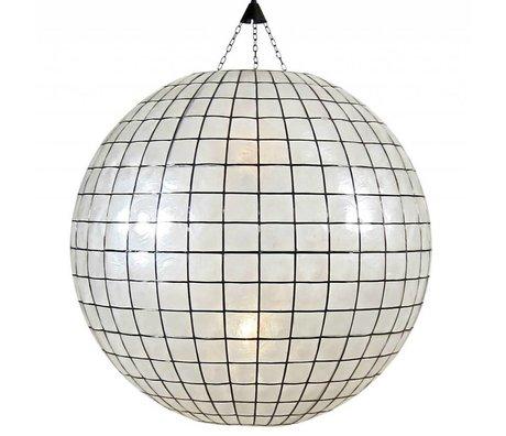 HK-living XL bombilla de luz colgante de vidrio de color blanco ø83cm