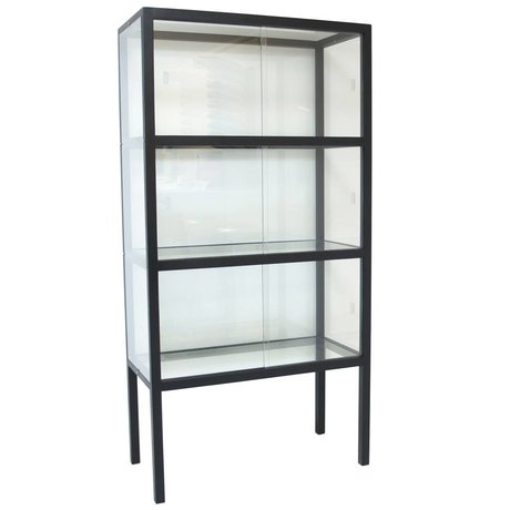 HK-living Showcase glass / wood black 75x36x148cm