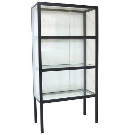 HK-living Vitrinenschrank aus Glas/Holz, schwarz, 75x36x148cm