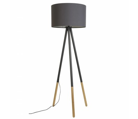 Zuiver Floorlamp Highland métal / bois Ø53xH155cm gris foncé