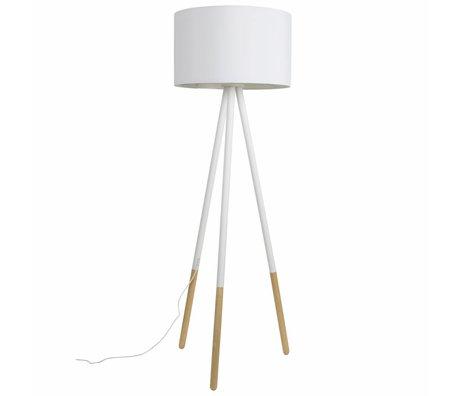 Zuiver Stehlampe Highland aus Metall/Holz, weiß, Ø53xH155cm