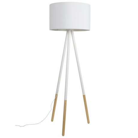 Zuiver Floorlamp Highland metal / wood white Ø53xH155cm