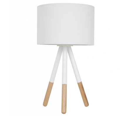 Zuiver Lampe de table Highland métal / bois Ø30xH54cm blanc