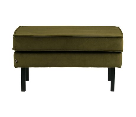 BePureHome Tabouret Rodeo Sur Pied Velours Olive