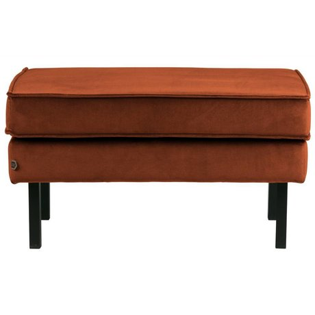 BePureHome Tabouret Rodeo Sur Pied Velours Rouille