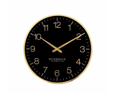 Riverdale Orologio da parete Ritz in metallo nero Ø40cm