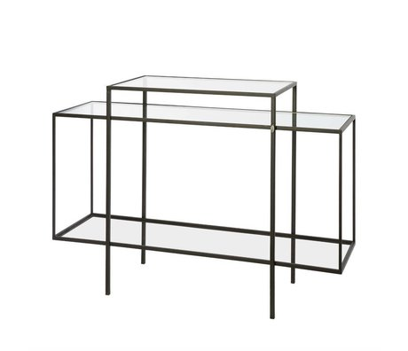 Riverdale Sideboard Amaro black metal glass 37x120x88,5cm