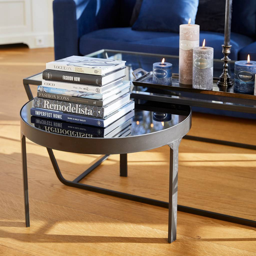 Riverdale Sidetable Ovaal.Riverdale Side Table Amaro Black 60x60x40 4cm