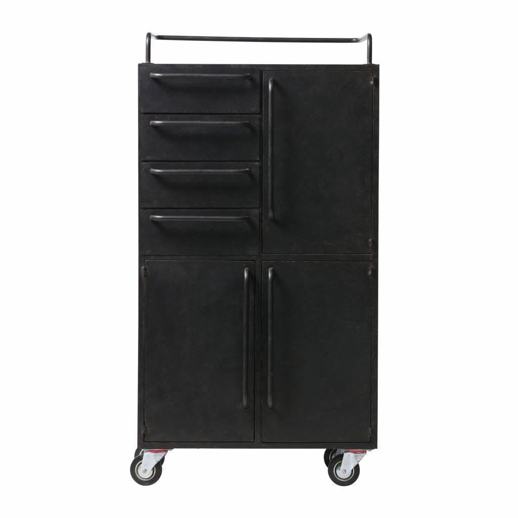 Kabinett Schwarze Schönheit Auf Rädern Schwarz Metall 144x75x39cm