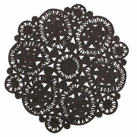 BePureHome Coaster alfombra crochet negro