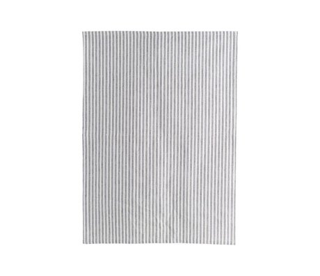 Housedoctor Torchon Polly Stripe coton gris blanc 70x50cm
