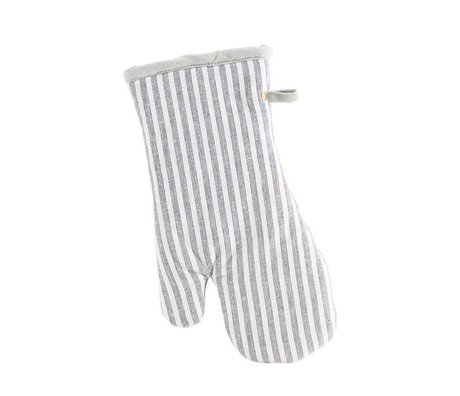 Housedoctor Oven Glove Polly Stripe white gray cotton 32x18cm