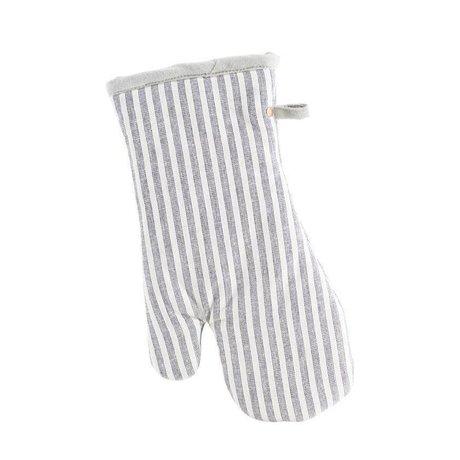 Housedoctor Horno Guante Polly Stripe blanco gris algodón 32x18cm