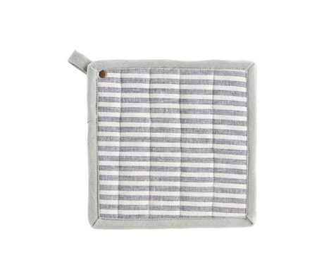 Housedoctor Potholders Polly Stripe hvid grå bomuld 21x21cm