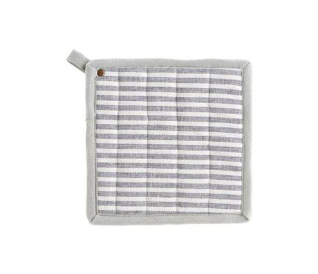 Housedoctor Topflappen Polly Stripe weiß grau Baumwolle 21x21cm