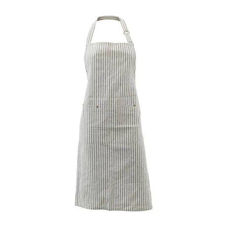 Housedoctor Küchenschürze Polly Stripe weiß grau Baumwolle 90x84cm