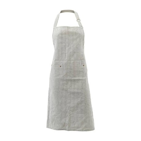 Housedoctor Tablier de cuisine Polly Stripe blanc coton gris 90x84cm