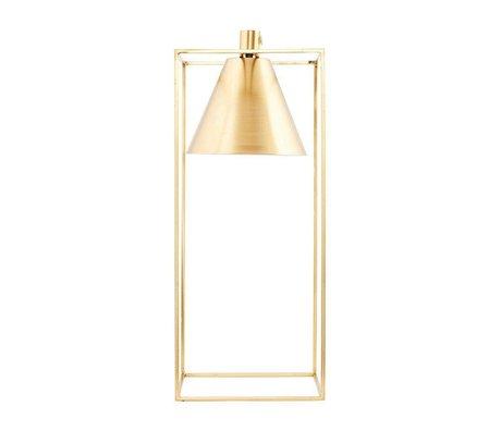 Housedoctor Lampe à poser KUBIX en laiton doré métal blanc 18x18x42cm