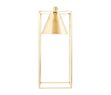 Housedoctor Table lamp KUBIX brass gold white metal 18x18x42cm