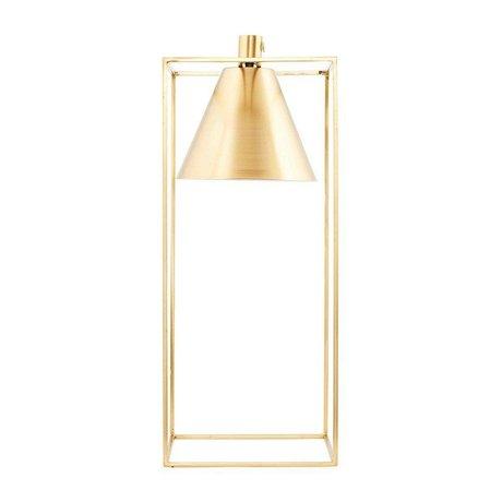 Housedoctor Tischleuchte KUBIX Messing gold weiß Metall 18x18x42cm