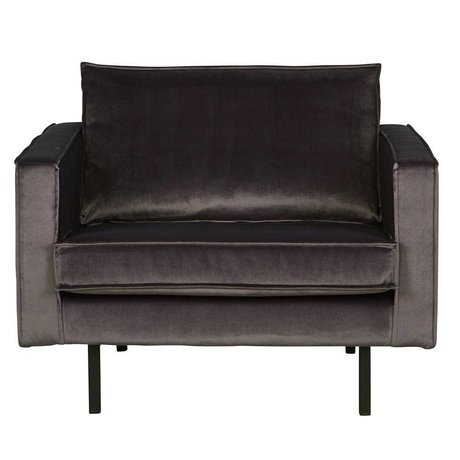 BePureHome Rodéo fauteuil velours gris anthracite