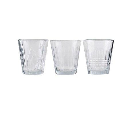 Housedoctor Vaso de cristal transparente vintage, juego de 3 Ø7,5x8,5cm.