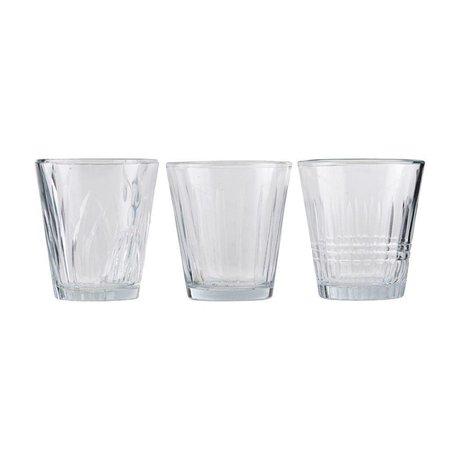 Housedoctor Glas Vintage Klarglas Set von 3 Ø7,5x8,5cm