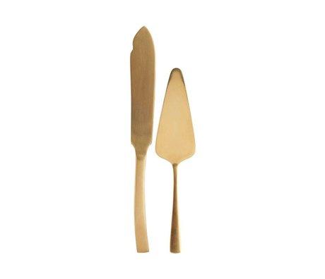 Housedoctor Servering sæt kage guld stål sæt af 2