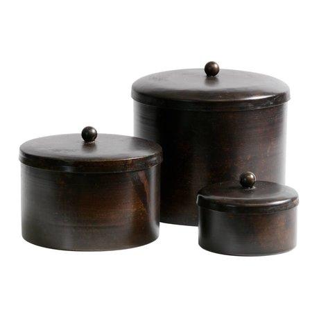 BePureHome Set di 3 - scatola portaoggetti Treasury in metallo grigio scuro