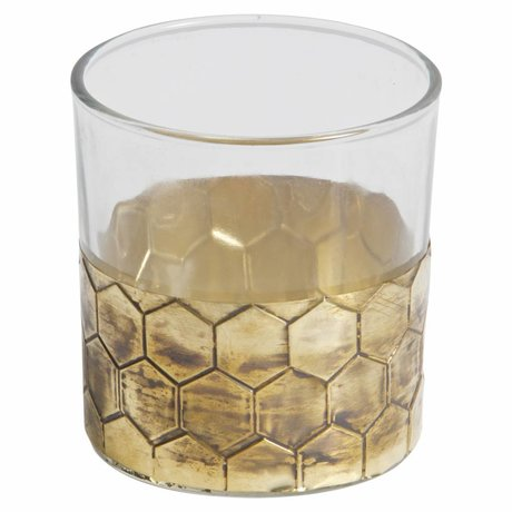 BePureHome Tealight holder Wrap M gold metal glass 8x7,5x7,5cm
