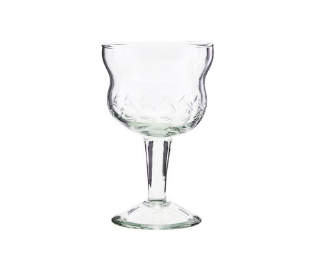 Housedoctor Copa de vino tinto cristal transparente vintage Ø8x13cm