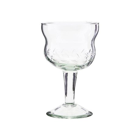 Housedoctor Bicchiere da vino rosso Vintage vetro trasparente Ø8x13cm