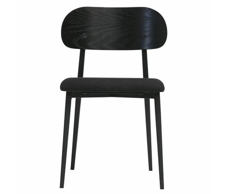 vtwonen Dining chair Class black wood textile set of 2 50x51x79cm