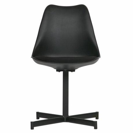 vtwonen Chaise de table Flow textile en plastique noir set de 2 56x48x84cm