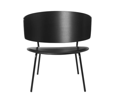 Ferm Living Chaise longue Herman en cuir noir bois métal 68x60x68cm