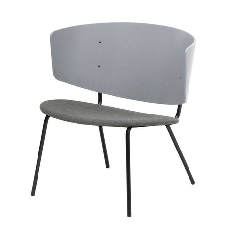 Ferm Living Lounge chair Herman upholstered light gray wood metal textile 68x60x68cm
