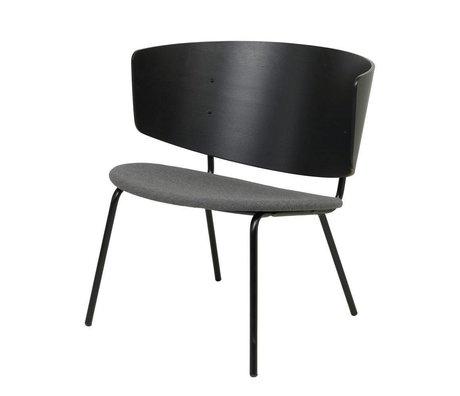 Ferm Living Lounge Sessel Herman gepolstert schwarz dunkelgrau Holz Metall 68x60x68cm