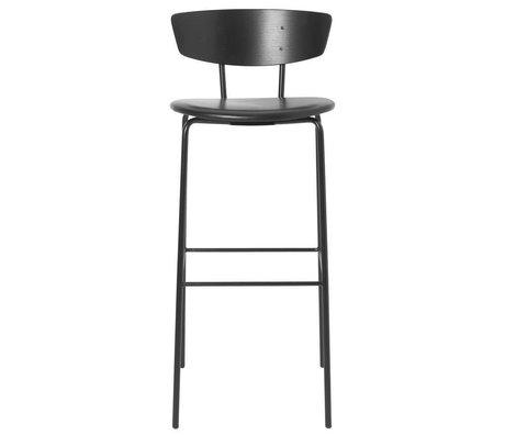 Ferm Living Bar stool Herman High black leather wood metal 40,5x43x96cm