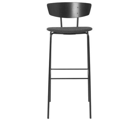 Ferm Living Tabouret de bar Herman haut rembourré bois noir métal 40,5x43x96cm