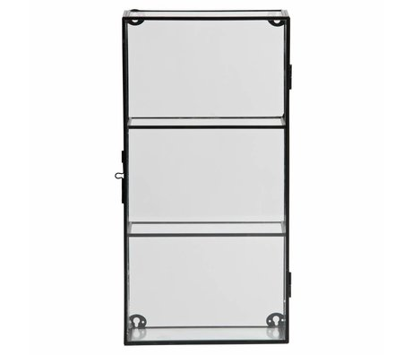 LEF collections Charlie cabinet with two shelves metal / glass black