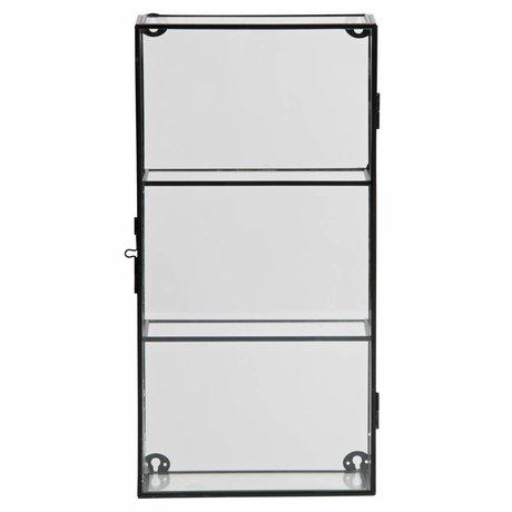 LEF collections Charlie armoire avec deux étagères en métal / verre noir